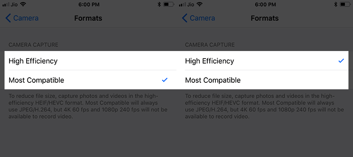 Enable High Efficiency on iPhone X and iPhone 8 Plus