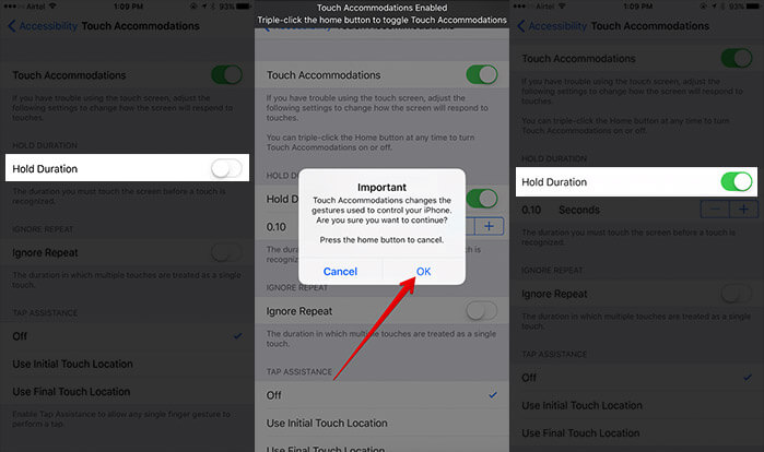 Enable Hold Duration in iOS 10