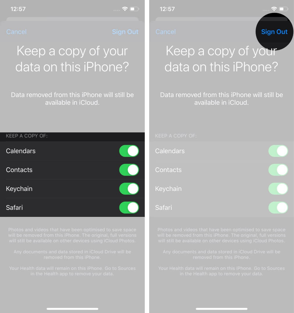 Enable Keep a Copy of Contacts, Keychain and Safari on iPhone