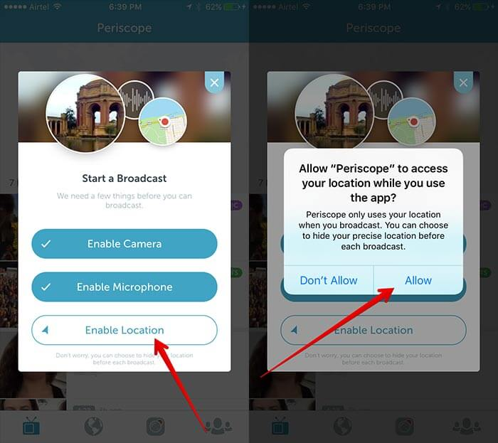 Enable Location, Camera, and Microphone in Periscope iPhone App