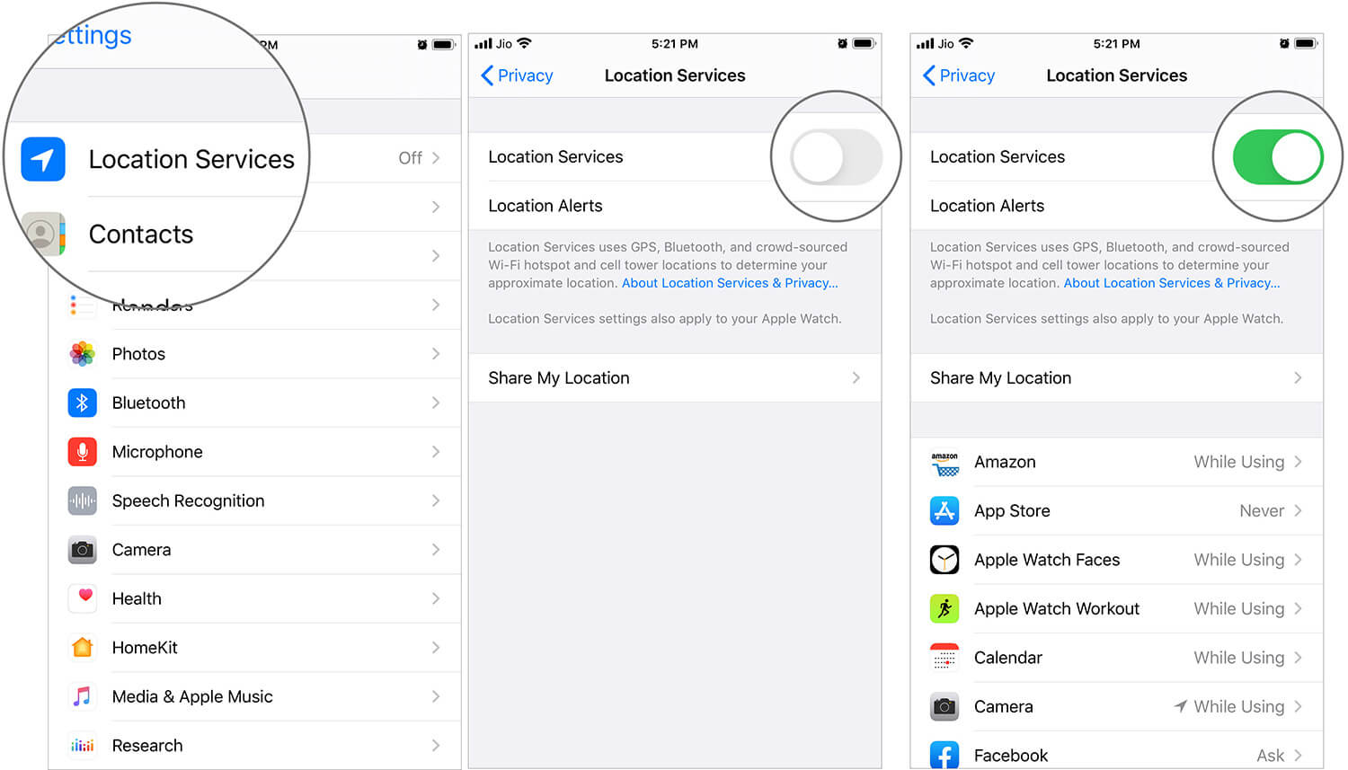 Enable Location Services in iOS 13 Settings on iPhone