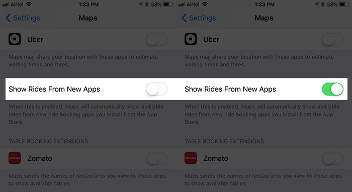 Enable Maps to Show Rides from New Apps on iPhone and iPad
