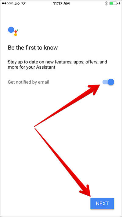Enable Notification for New Feature in Google Assistant on iPhone