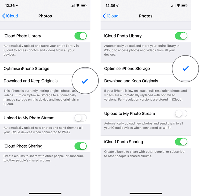 Enable Optimize Storage for iPhone Photos