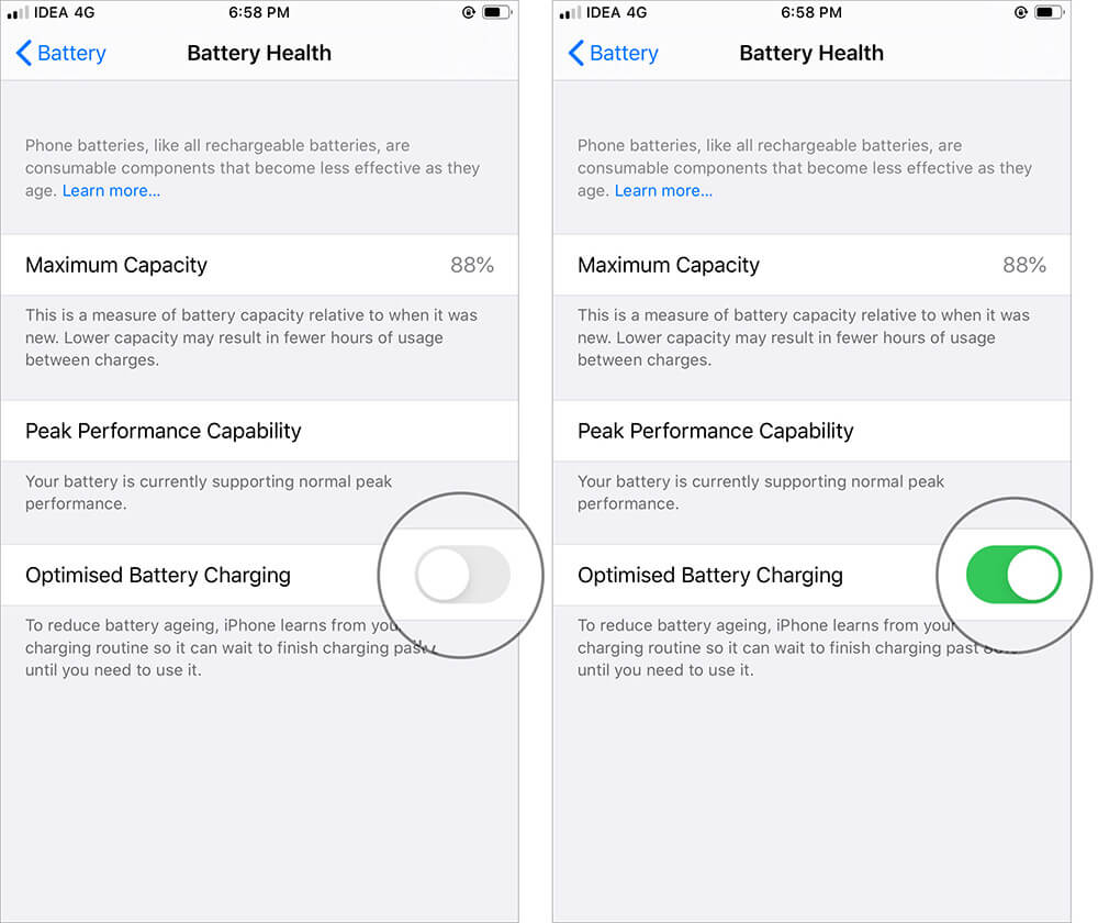 Enable Optimized Battery Charging for iPhone in iOS 13