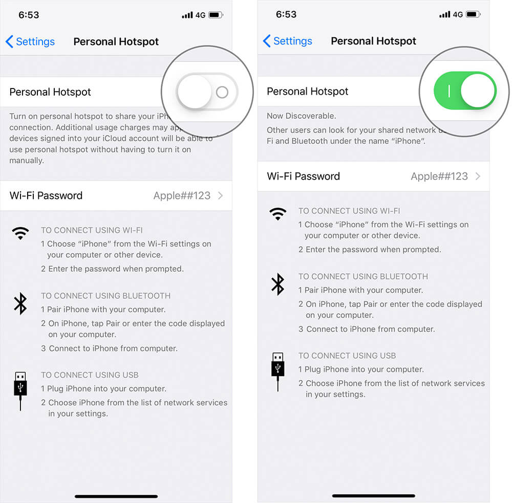 Enable Personal Hotspot on iPhone