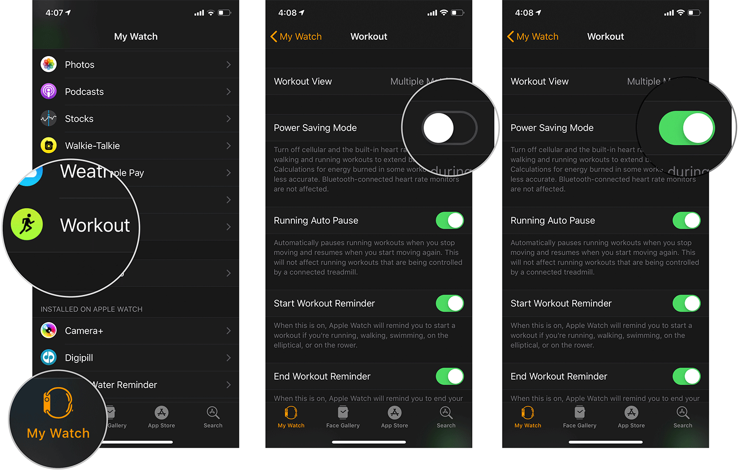 Enable Power Saving Mode in Workout App from iPhone