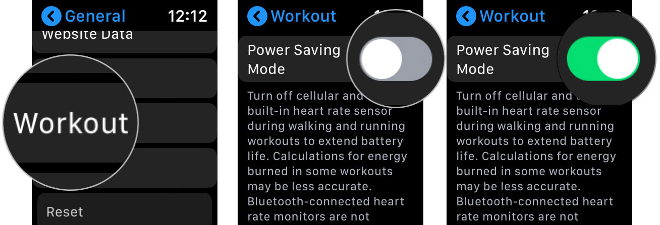 Enable Power Saving Mode in Workout App on Apple Watch