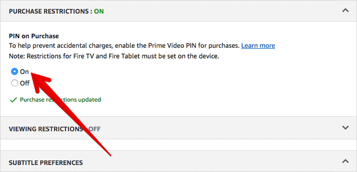 Enable Purchase Restrictions on Prime Video