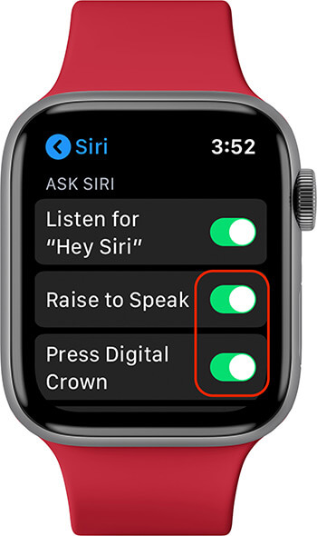 Enable Raise to Speak and Press Digital Crown on Apple Watch