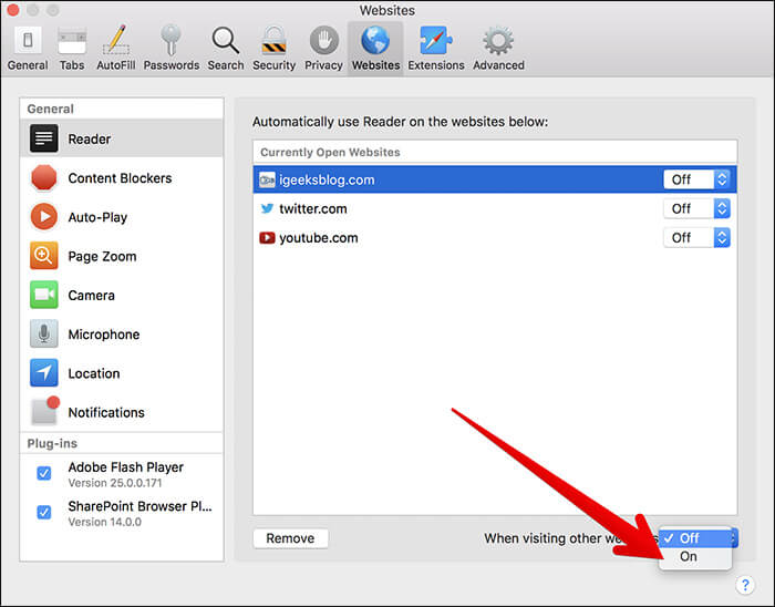 Enable Reader Mode in macOS High Sierra on Mac