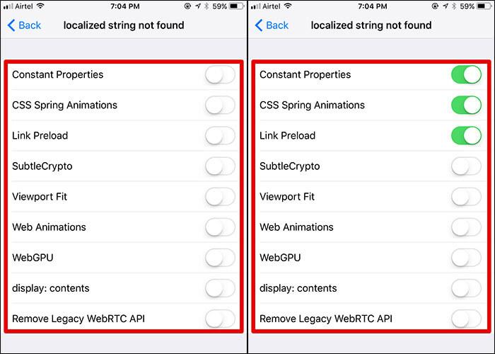Enable Safari Experimental Features in iOS 11
