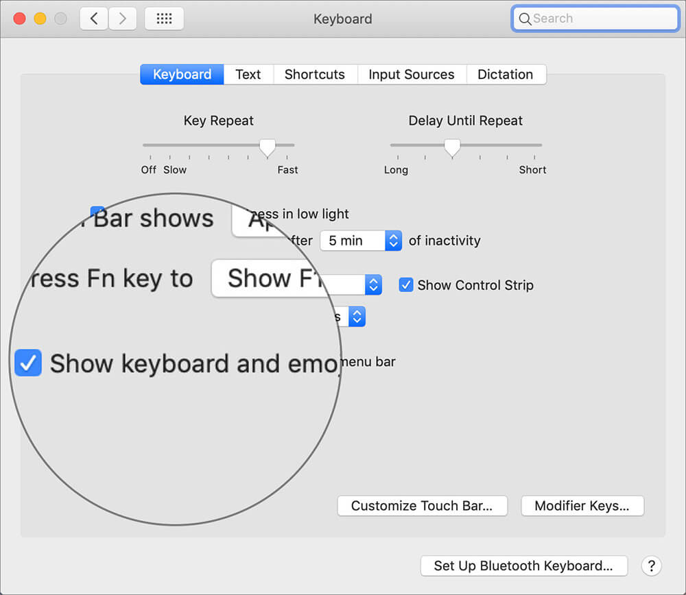 Enable Show keyboard and emoji viewers in menu bar in Mac Keyboard Preferences