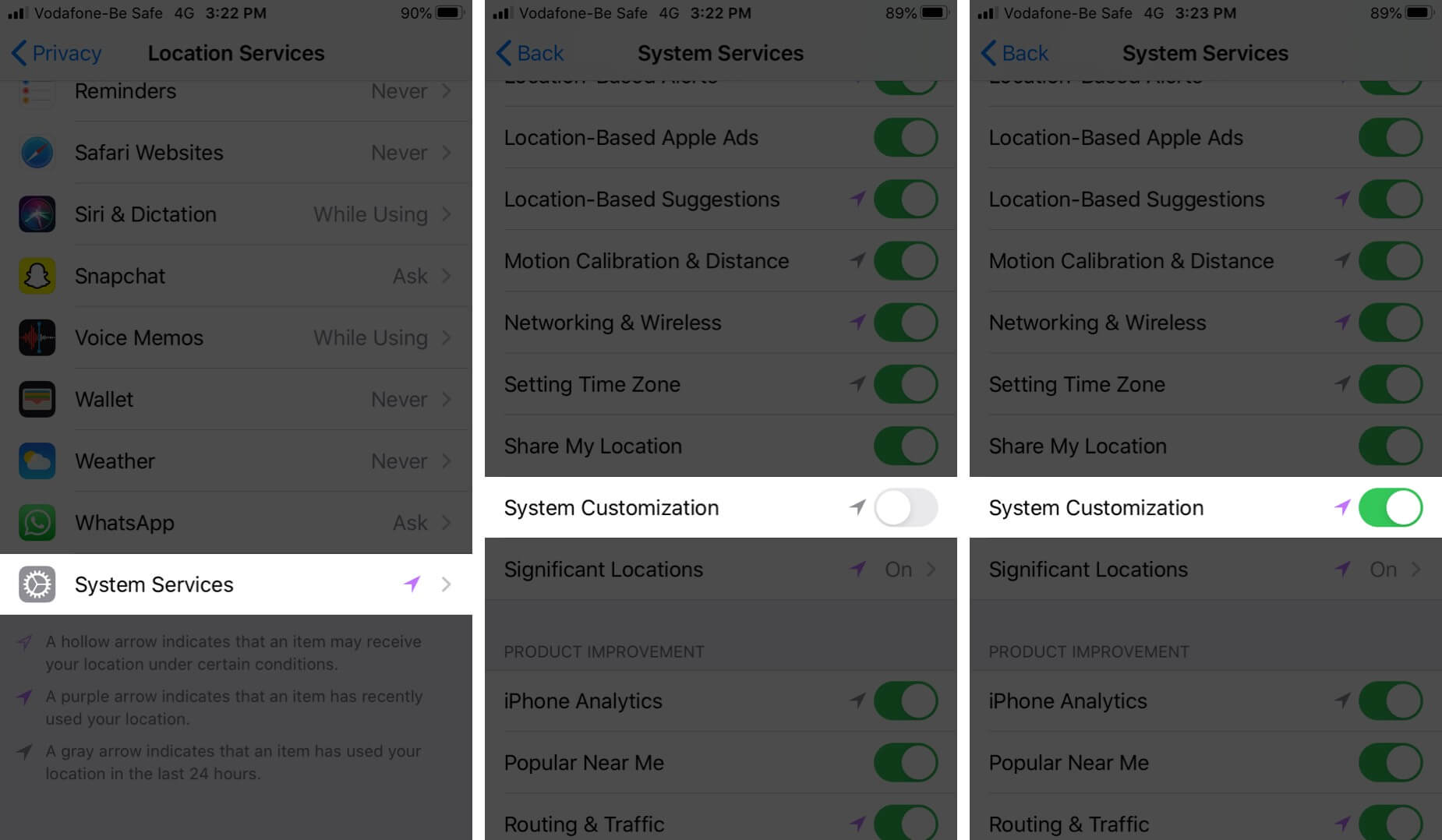 Enable System Customization on iPhone