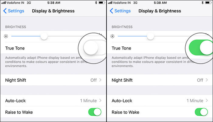 Enable True Tone Display from iPhone 8 Plus Settings