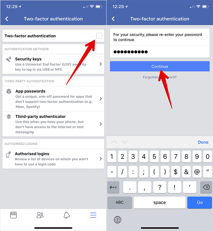 Enable Two-factor Authentication in Facebook on iPhone