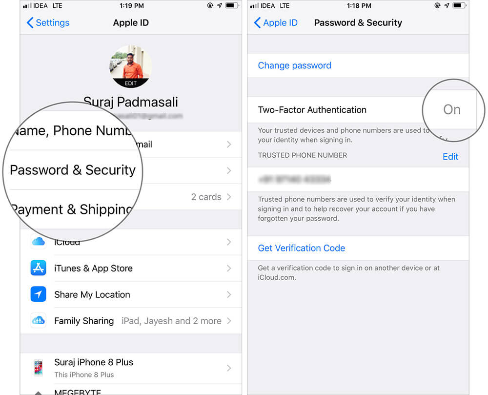 Enable Two-factor authentication for Apple ID on iPhone