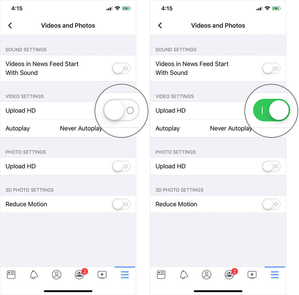 Enable Upload HD in Facebook on iPhone or iPad