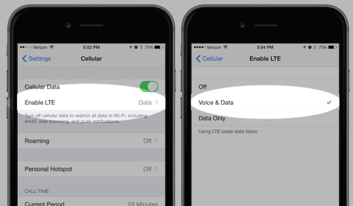 Enable VoLTE in iPhone 6 and 6 Plus