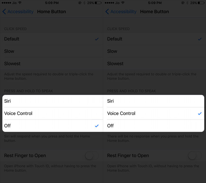 Enable Voice Control Using Home Button on iPhone and iPad