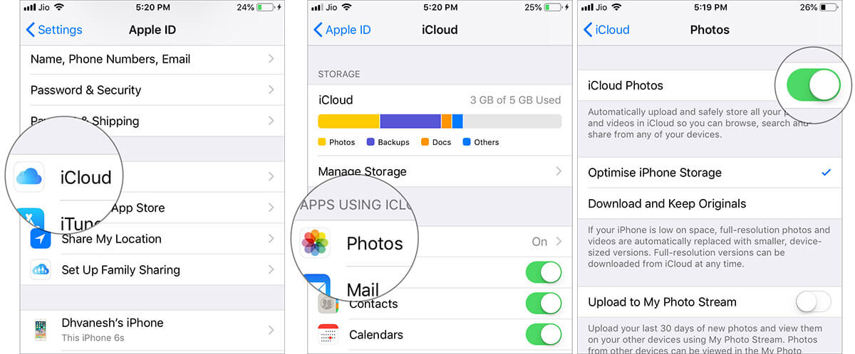 Enable iCloud Photos on iPhone Running iOS 12