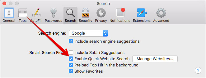 Enable or Disable Quick Website Search in Safari on Mac
