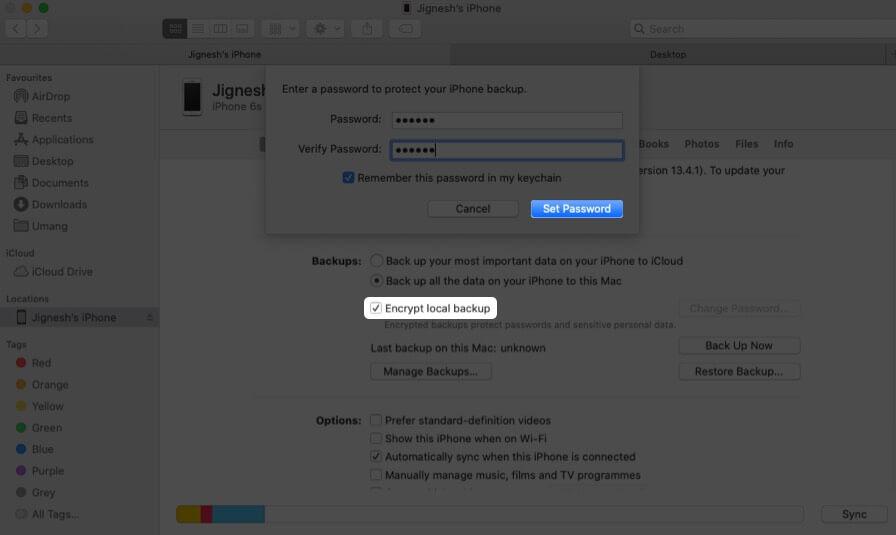 Verschlüsseln Sie die lokale Sicherung und klicken Sie im Finder auf dem Mac auf Kennwort festlegen