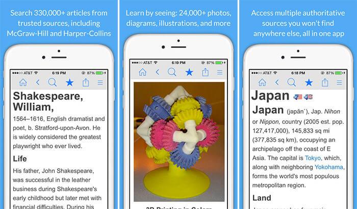 Encyclopedia of World Knowledge iPhone and iPad App Screenshot