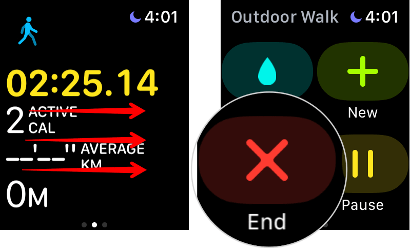 End Workout Session on Apple Watch