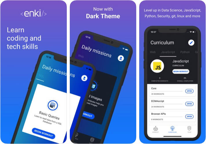 Enki iPhone and iPad Programming Learning App Screenshot