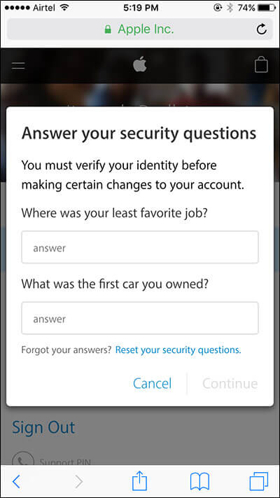 Enter Answers of Security Questions of Apple ID