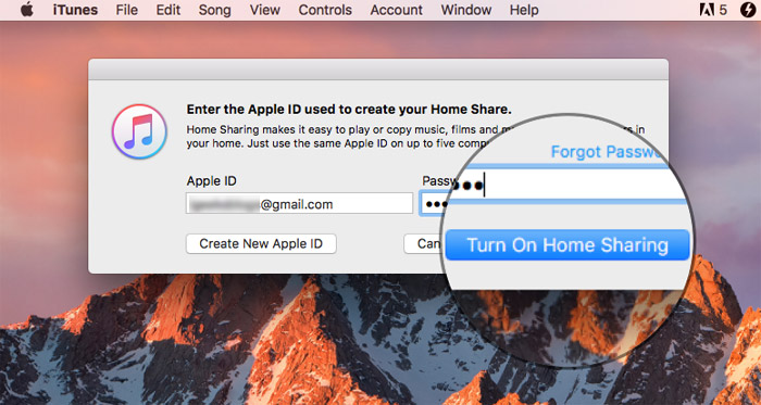 Enter Apple ID and password then click Turn on Home Sharing on Mac