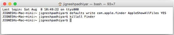 Enter Command Line to View Hidden Files on Mac
