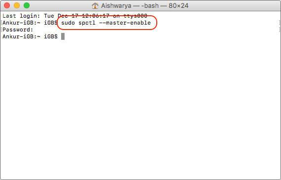 Enter Command to Enable Gatekeeper on Mac Terminal