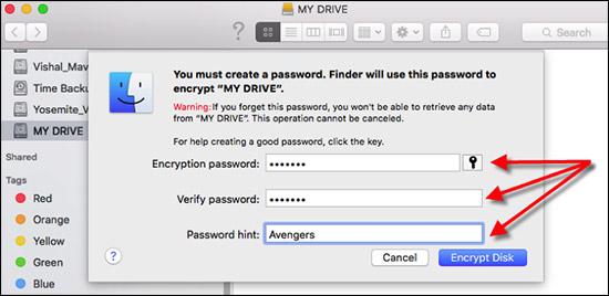 Enter Encryption Password for External Drive on Mac