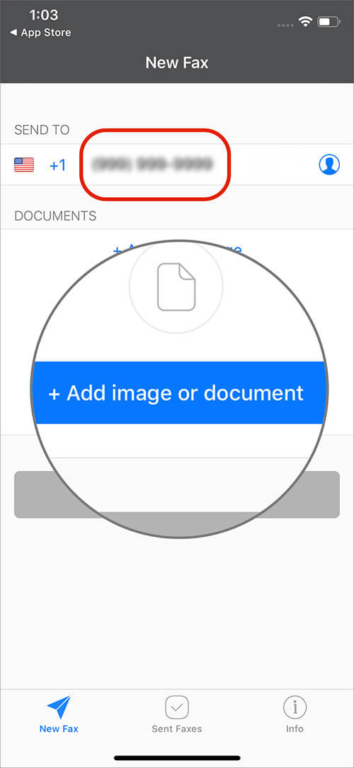 Enter Fax Number and Tap on Add image or Document on iPhone
