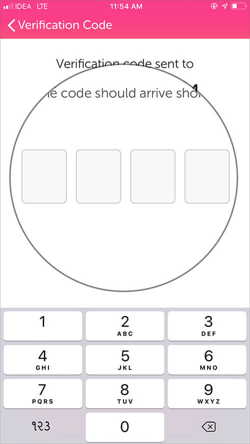 Enter Four-digit code to verifiy in iOS Flash App