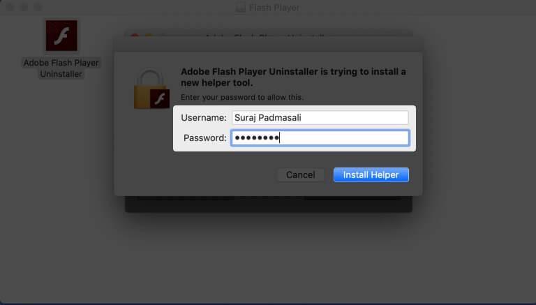 Enter Mac Login Details and Click on Install Helper on Mac