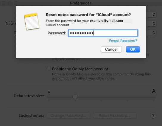 Enter Mac Password and Click on OK