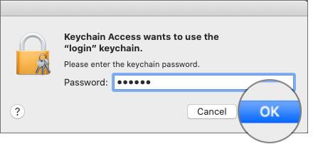 Enter Mac's Password in Keychain Access