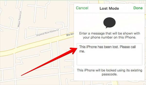 Enter Message You Want to Show on Lost iPhone