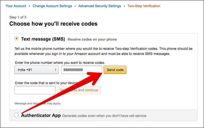 Enter Mobile Number and Click on Send Code in Amazon