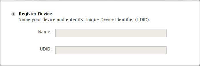 Enter Name and UDID of Your iPhone