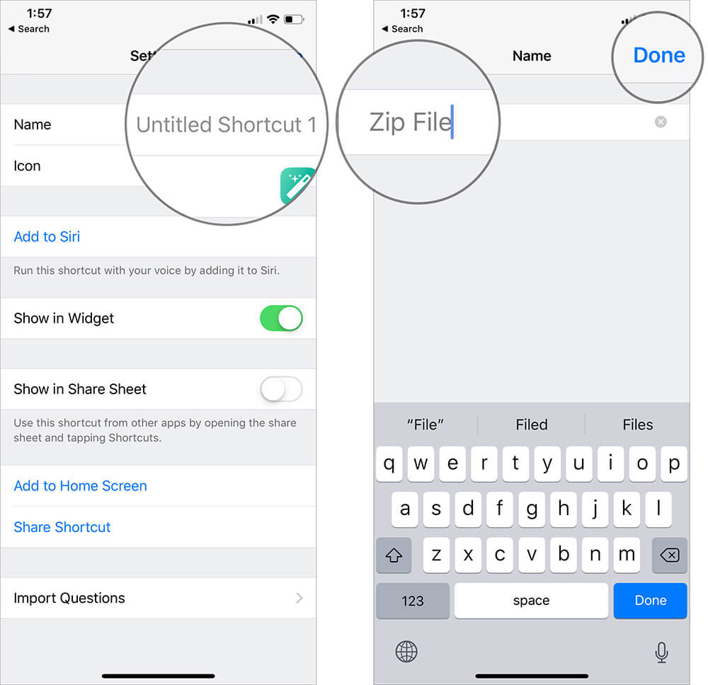 Enter Name to Create Zip Files Shortcut in iOS 12