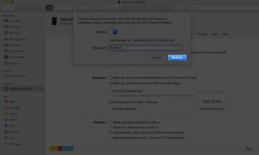 Enter Password and Click on Restore on Mac