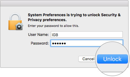 Enter Password and Click on Unlock on Mac