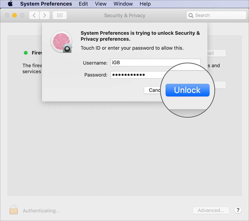 Enter Password and Clock on Unlock on Mac