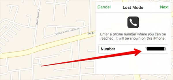 Enter Phone Number to Get Call from Lost iPhone