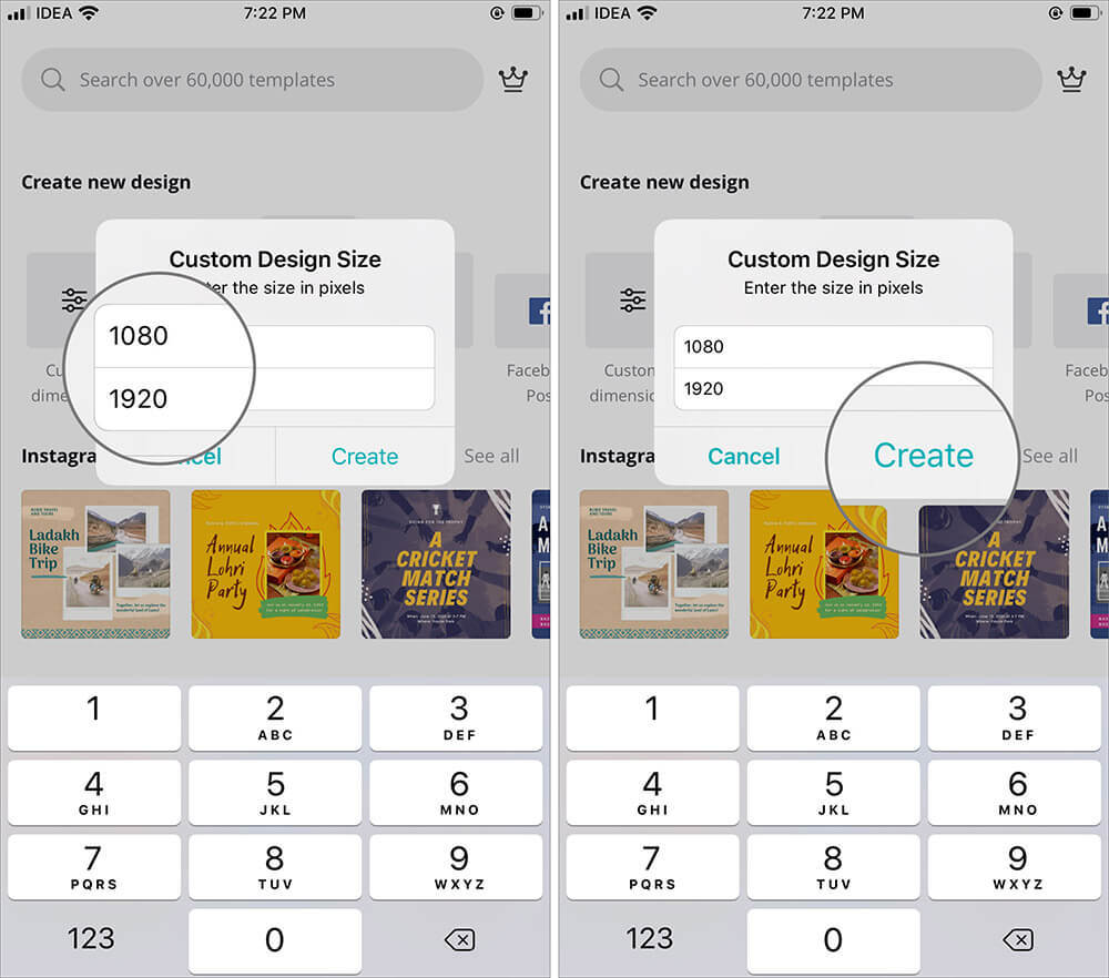Enter Pixel Size and Tap on Create to Make Wallpaper for iPhone