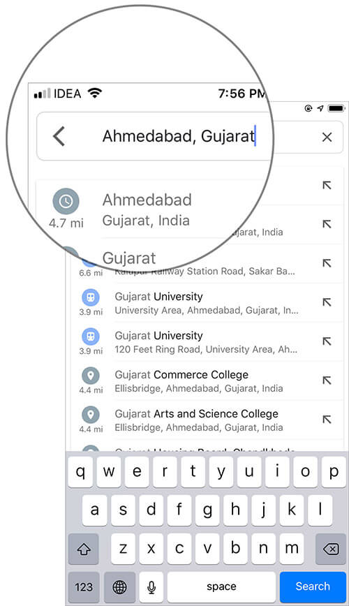Enter Place name you wish to download in Google Maps search field